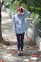 sky blue batman Sheinside shirt - black round O Pato Veste sunglasses