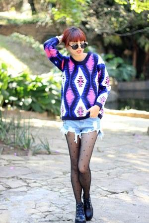 OASAP sweater - romwe boots - OASAP tights - OASAP shorts