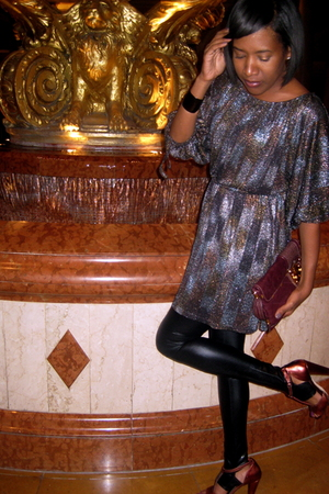 H&M dress - black Kova & T leggings - tracy reese shoes - Juicy Couture purse