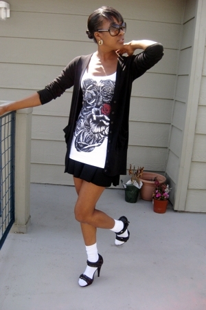 Splendid sweater - lauren moshi top - American Apparel skirt - socks - Michael K