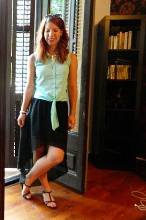 black H&M sandals - aquamarine button up New Yorker shirt