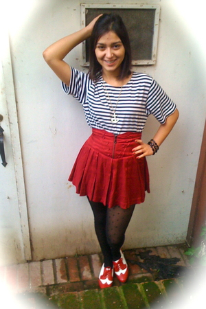 white shirt - red Forever 21 skirt - black American Apparel tights - red shoes