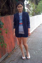 blue talbots blazer - gray junkfood t-shirt - red belt - gray top - blue Forever