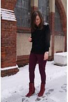 black DIY sweater - maroon Zara boots
