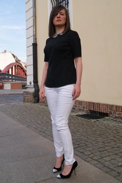 0fed539904bfc4 black collar DIY accessories - white Vero Moda pants - black DIY blouse