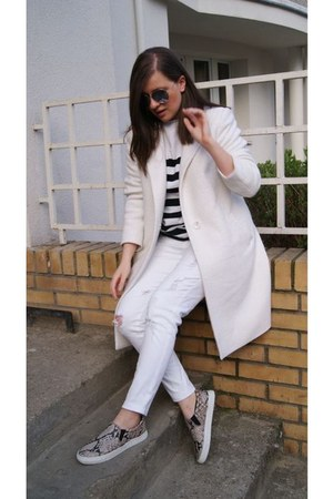 off white DIY coat - black H&M flats