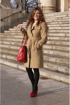 camel sewed by my mum coat - red  bag - red Graceland heels