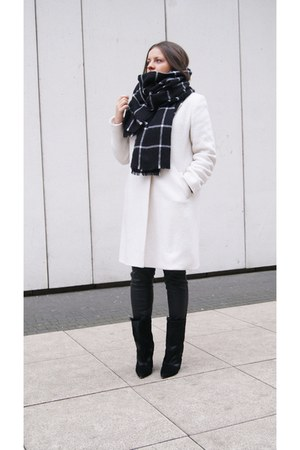 black Zara scarf - black Choies boots - ivory coat