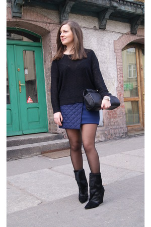 navy DIY skirt - black Choies boots