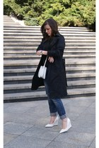 black Zara coat - white DIY bag - white Mango wedges