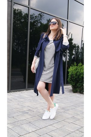 white striped Zara dress - white Adidas sneakers