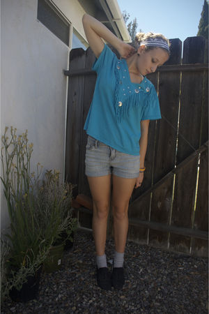 blue thrifted shirt - UO shorts - black oxfords shoes - luckytarget accessories