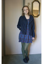 blue secondhand banana republic jacket - Lux dress - green Target tights - black