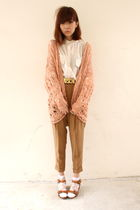 beige LUCYD ACYD blouse - brown Zara pants - brown Moschino belt - brown Topshop