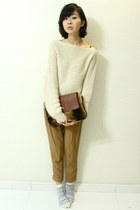 beige The Scarlet Room sweater - camel Zara pants - beige Topshop socks - brown