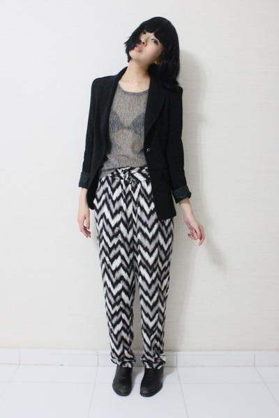 Comme des Garcons shoes - Zara blazer - printed Monki pants - silver sheer Monki
