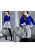 blue H&M sweater - heather gray Michael Kors bag - periwinkle Zara skirt