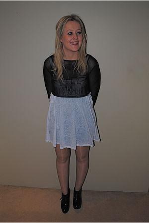 black Ksubi shirt - black Chanel stockings - black tony bianco shoes - white Tig