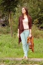 aquamarine Zara jeans - tawny H&M accessories - crimson Vero Moda cardigan