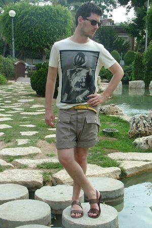 beige Mango shirt - yellow Zara belt - brown Zara shorts - brown Zara shoes