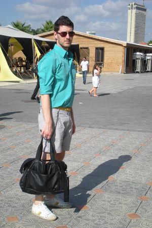 green castro shirt - white pull&bear shoes - black Zara bag