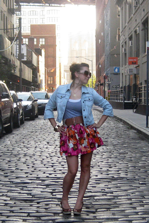 forever 21 jacket - American Apparel top - forever 21 belt - forever 21 skirt -