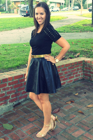 black leather H&M skirt - black studded detail Forever 21 shirt