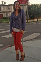 blue denim kensie jacket - brick red stripes Forever 21 shirt