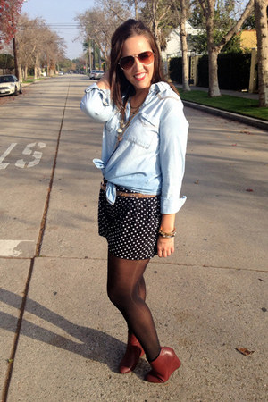 periwinkle chambray Mudd shirt - black polka dots Cotton  Candy shorts