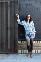 sky blue quicksilver shirt - brown Ariat boots - navy Joes Jeans shorts