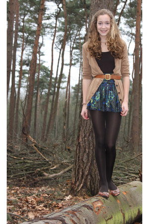 dark green silk essentiel skirt - dark brown we shirt