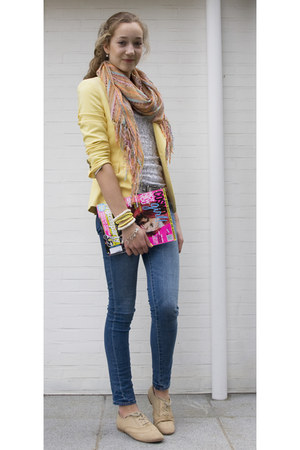 light yellow Zara blazer - brogues Steve Madden shoes
