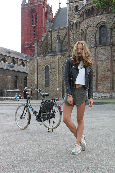 black leather Goosecraft jacket - olive green silk H&M shorts