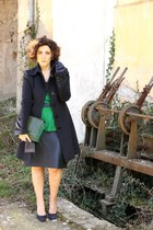 green vintage clutch bag - navy wool Patrizia Pepe coat - green peplum H&M top