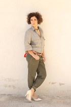 cargo H&M pants - H&M heels - linen vintage blouse