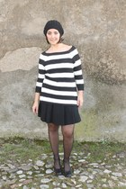black french cap hat - black stripes Zara sweater - black pleated skirt skirt