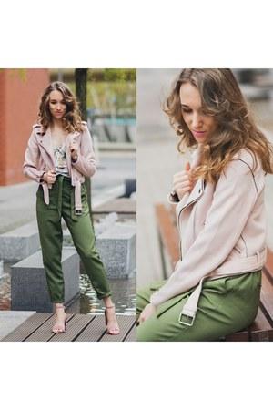 pastel Zara jacket - floral print Stradivarius top - khaki reserved pants