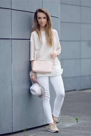 beige Zara sweater - pastel Zara bag