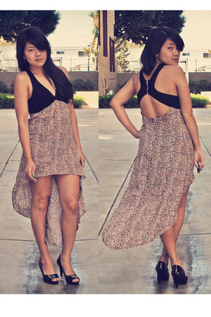 camel high low ICE dress - black Payless heels