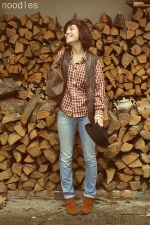 H&M t-shirt - vintage blazer - vintage accessories - Zara pants - Minnetonka sho