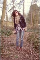 vintage blouse - vintage blazer - H&M scarf - vintage shoes - H&M jeans