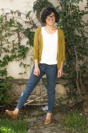 navy jeans - mustard Mossimo cardigan - brown loafers