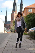 white Victorias Secret t-shirt - brown vintage boots - beige Indiska scarf