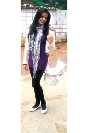 purple blouse - black tights - white cardigan - ivory scarf