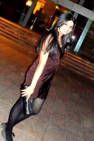 brown dress - black tights