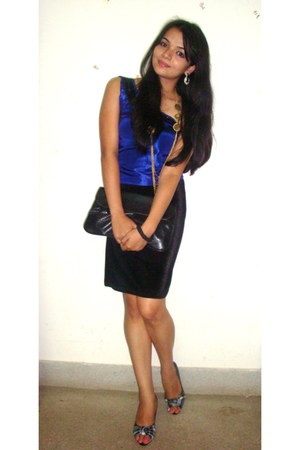 black ITS bag - navy nudeen top - black pumps - black velvet skirt Sea Mermaid s