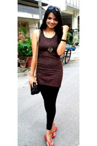 black tank dress Showoff dress - crimson quilted bag bag - heather gray idee sun