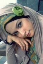 dark khaki khaki BULL hoodie - chartreuse green maxi BULL dress