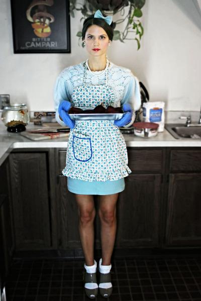 white Target socks - sky blue restyled a-line vintage skirt