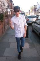 white All Saints London shirt - black Doc Martens boots - blue Topman jeans
